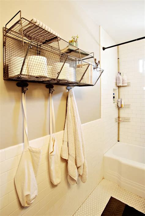 Wire Bathroom Storage Scuba S Open House House Tours Industrial And Wire Baskets