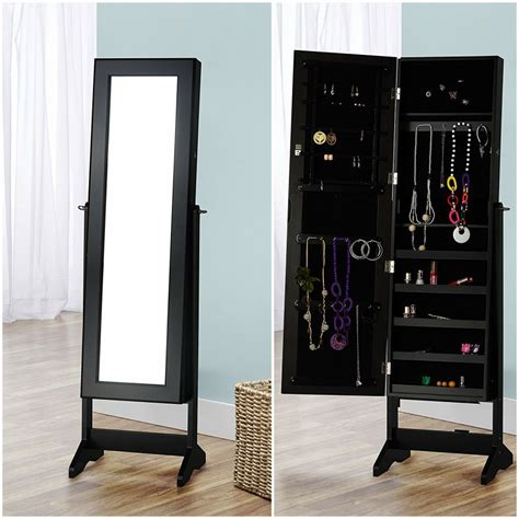 black standing mirror jewelry armoire 25 beautiful locking jewelry armoires zen merchandiser