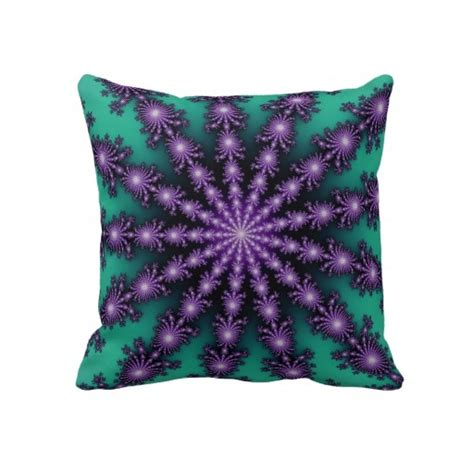 purple and green fractal throw pillow