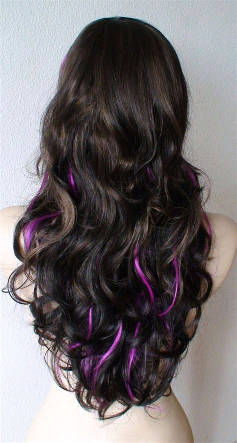 long hairstyles purple highlights summer special brown and chocolate brown ombre colored