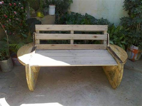 diy sofa bench diy recycled pallet and cable spool bench patio sofa