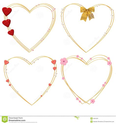 Decorative Hearts by Four Decorative Hearts Stock Image Image 4091591