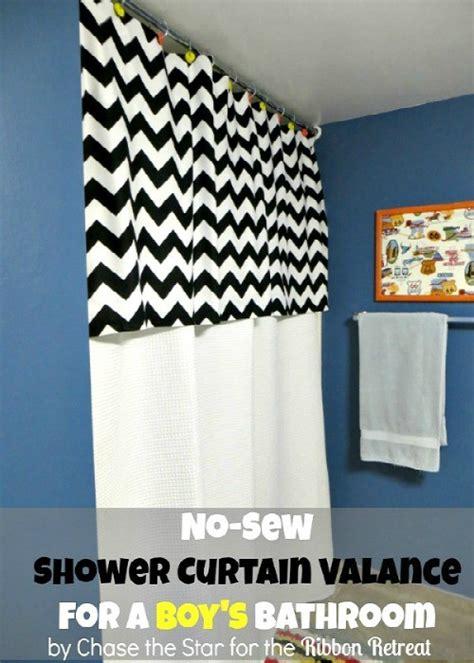 no sew shower curtain no sew shower curtain valance the ribbon retreat blog