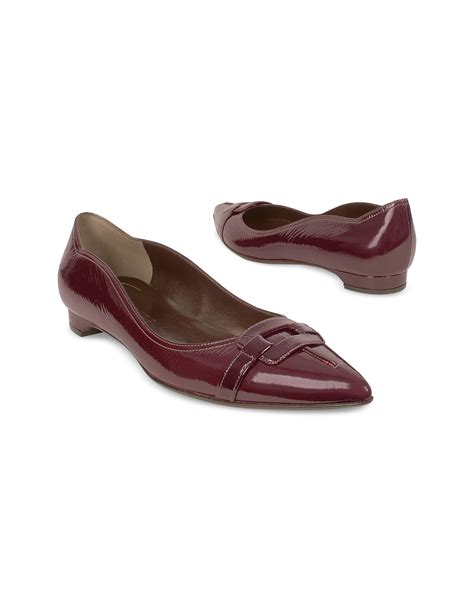 forzieri burgundy patent leather ballerina flat shoes in