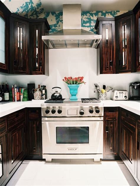 small kitchen with dark cabinets dark chocolate cabinets eclectic kitchen lonny magazine