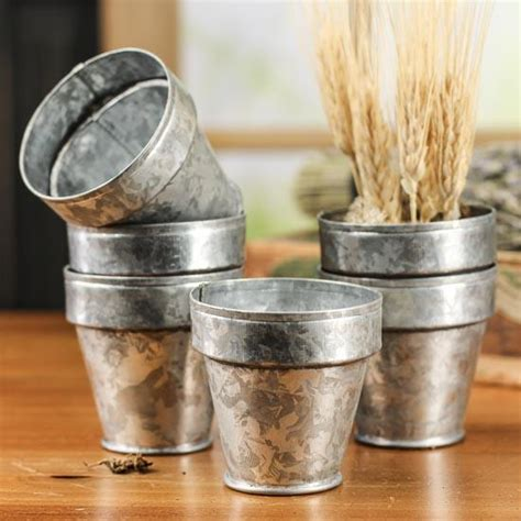 Small Pots For Home Decor Small Galvanized Flower Pots Decorative Containers