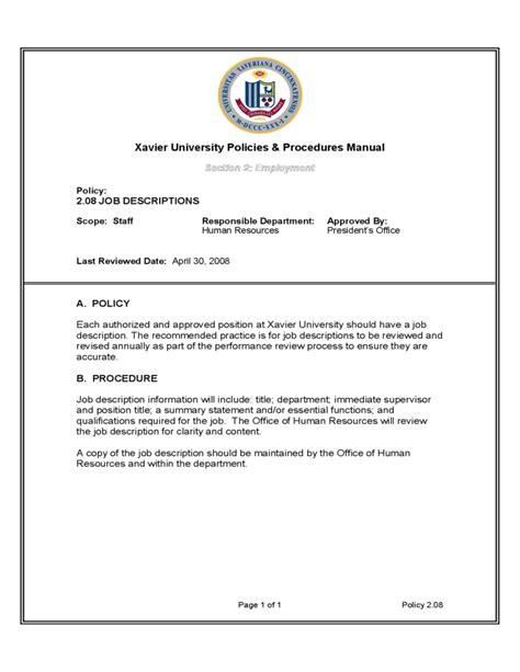 human resource manual template human resources policies procedures manual xavier