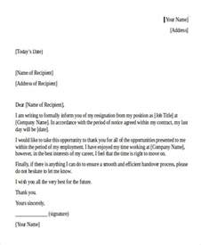 Letter Of Resignation Sle Uk by Internship Resignation Letter Template 6 Free Word Pdf Format Free Premium