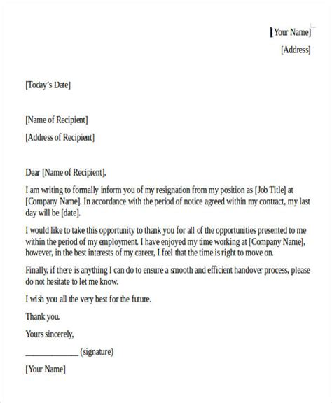 internship resignation letter template 8 free word pdf