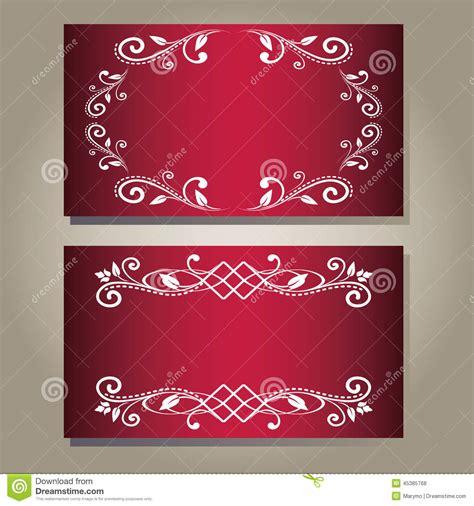 Set Of Vintage Blank Empty Dark Red Purple Elegance Cards
