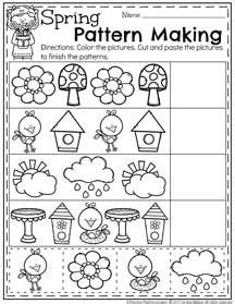 Pattern Making Activities For Preschool | spring preschool worksheets worksheets spring and patterns