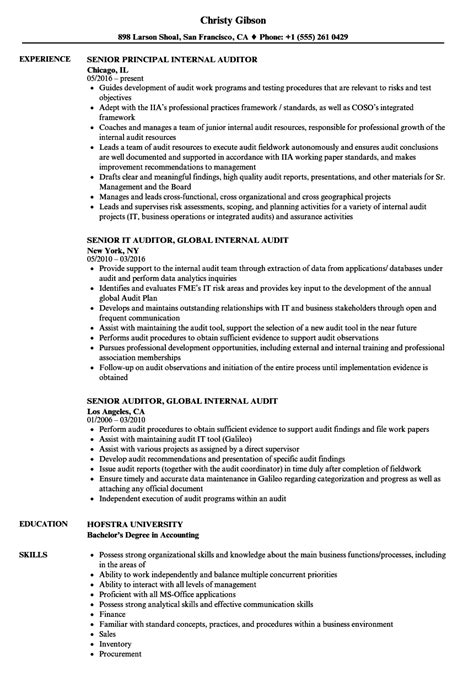 senior auditor resume sles velvet