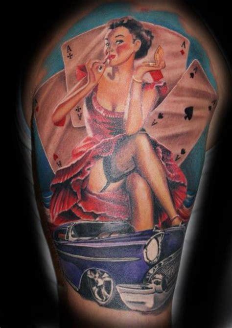 shoulder car card tattoo by tattoos by mini