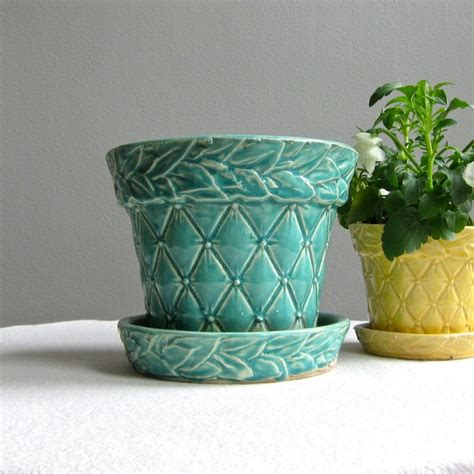 Vintage Mccoy Planters by Vintage Mccoy Green Quilted Pottery Flower Pot Large