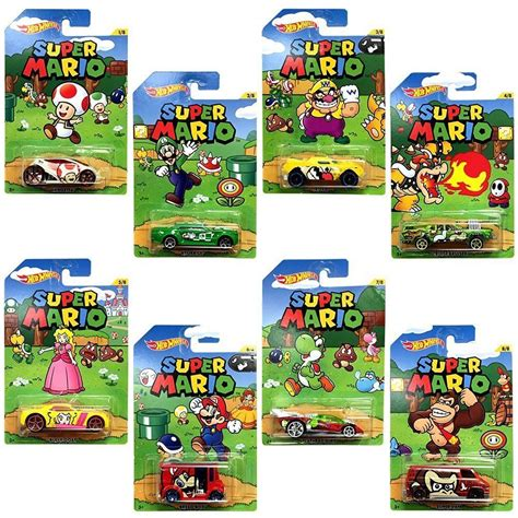 Hotwheels Mario Bros Mario wheels mario diecast vehicles complete set of 8