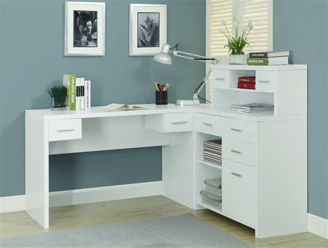 white modern  shaped desk  great storage