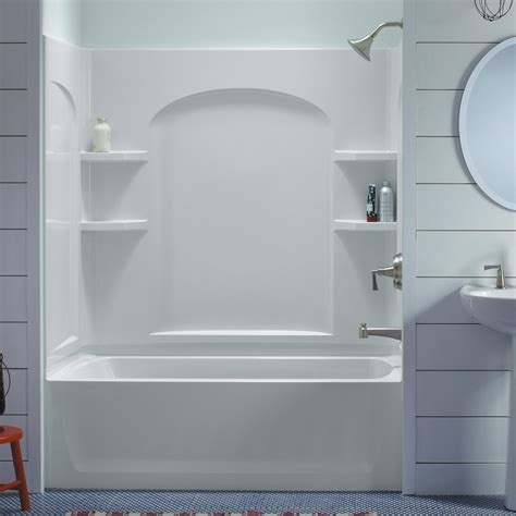 sterling bathroom sterling ensemble 71220110 60w x 74h in curve bathtub