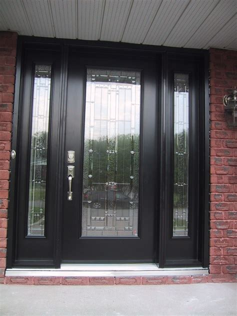 Modern Front Entrance Doors Modern Home Door Design With Gray Wooden Single Door Panel With 5 Glass Panel Sidelite