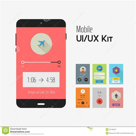 design ui ux flat ui or ux mobile apps kit stock photo image 53749243