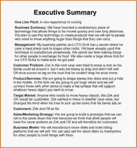 executive summary template word executive summary sle template business