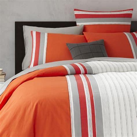 orange striped comforter orange bedding from west elm thick n thin stripe duvet