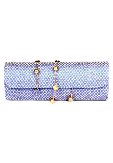blue pattern clutch bag favola dholak style silk brocade designer blue and gold