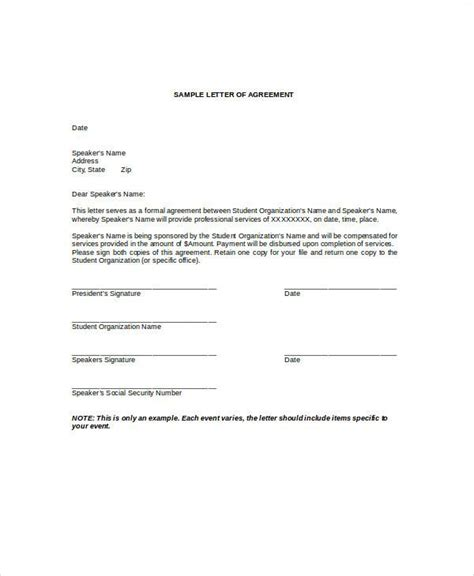 Common Format Letter Of Agreement Agreement Letter Exles