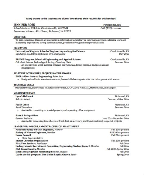biomedical engineering resume sles sle biomedical engineer resume 9 free documents