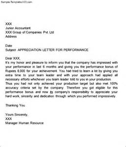 Appreciation Letter Writing Appreciation Letter For Performance Sample Templates