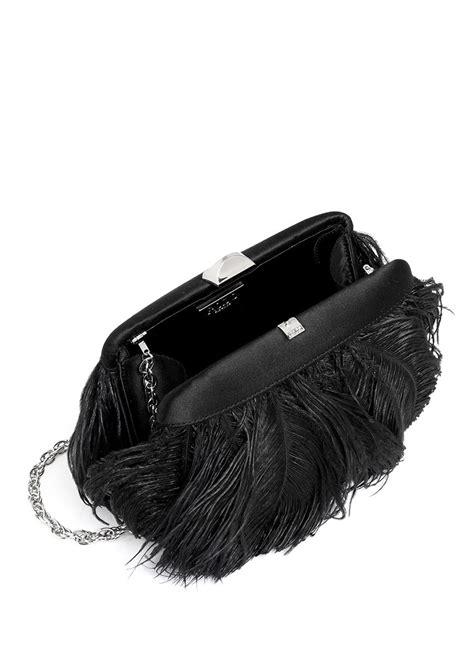Rodo Satin Clutch rodo feather appliqu 233 satin clutch in black lyst