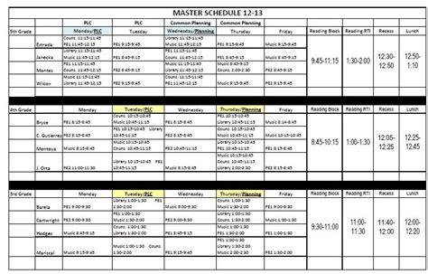 Elementary School Master Schedule Template Listmachinepro Com Free School Master Schedule Template