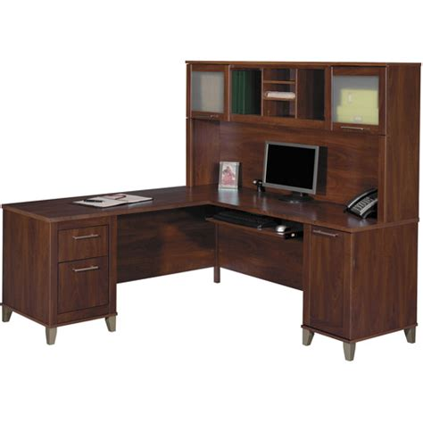 L Shaped Desk With Hutch Walmart Bush Somerset 71 Quot L Shaped Computer Desk With Hutch Hansen Cherry Walmart