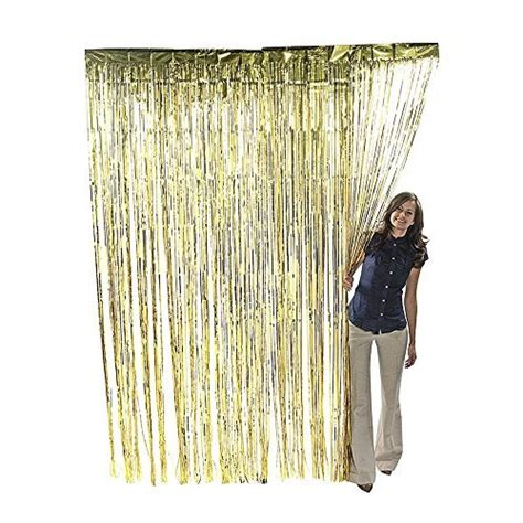 8 foot curtains metallic gold foil fringe shiny curtains for party prom