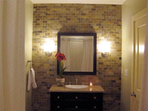 bathroom brick wall exposed brick wall in bathroom half bath inspiration