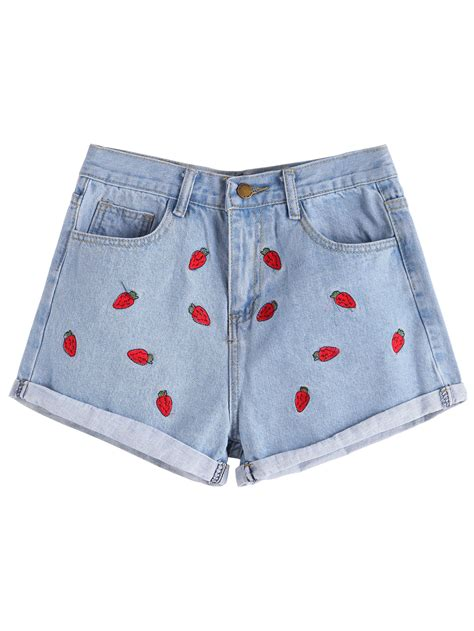 Denim Embroidered Shorts strawberry embroidered cuffed denim shortsfor romwe