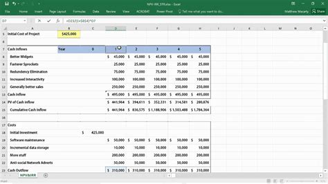 excel tutorial npv how to calculate npv irr roi in excel net present