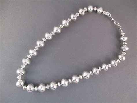 sterling silver bead necklace american jewelry