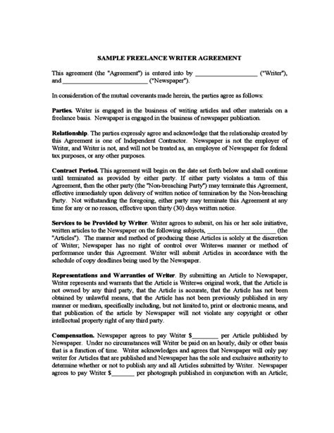 Sle Freelance Writer Agreement Free Download Freelance Work Contract Template