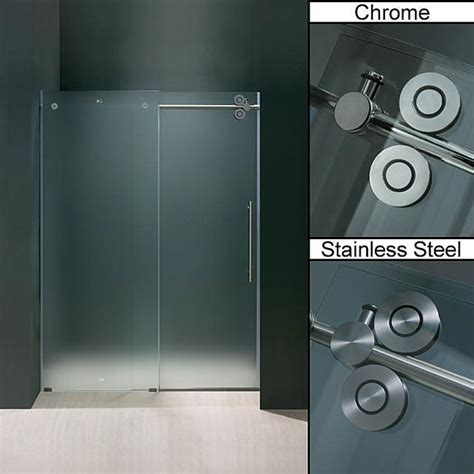 Vigo 60 Inch Frameless Frosted Glass Sliding Shower Door 60 Inch Frameless Glass Shower Doors