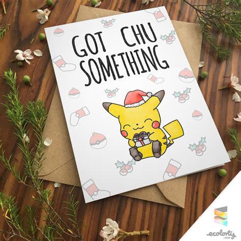 pikachu christmas card love pokemon go greeting card i
