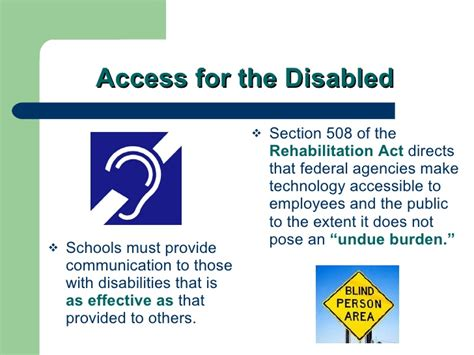 section 508 of the rehabilitation act requires federal agencies to legal issues related to school district web sites cas 4 26 07