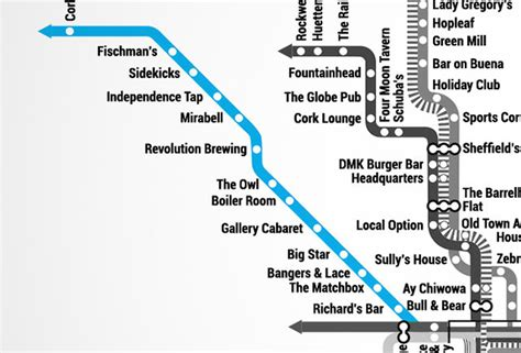 chicago blue line map chicago bar map is the best not made by cta