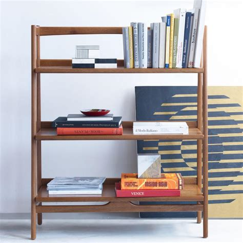 mid century bookshelf low west elm uk