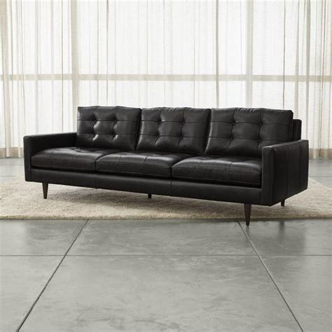 black tufted sofa black leather recamier sofa i horchow