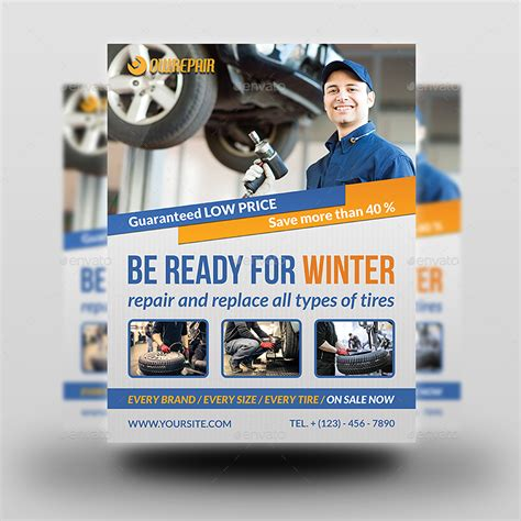 Tires Services Flyer Template By Owpictures Graphicriver Free Tire Shop Website Template