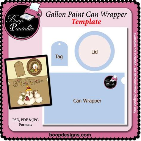 Gallon Paint Can Set Printable Craft Template By Boop Paint Can Label Template