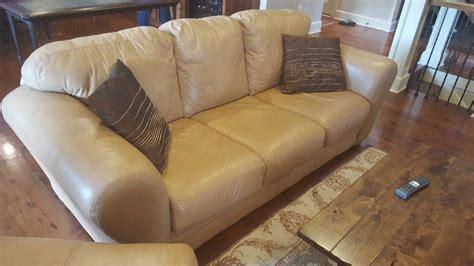 tan coloured leather sofas tan cream colored leather sofa with 2 pillows olathe hi