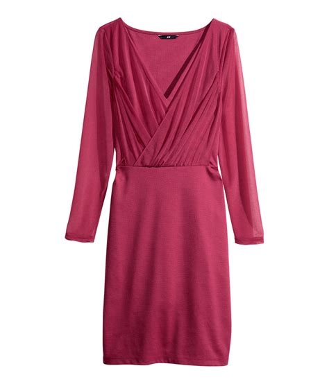 H M Draped Dress In Pink Lyst