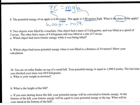 kinetic and potential energy worksheet answers kinetic potential energy worksheet worksheets for school getadating