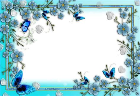 printable blue flowers blue flowers transparent png photo frame with hearts and
